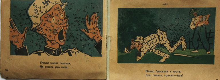 The collection of 14 wartime children's agitation books printed in Georgian Soviet Republic