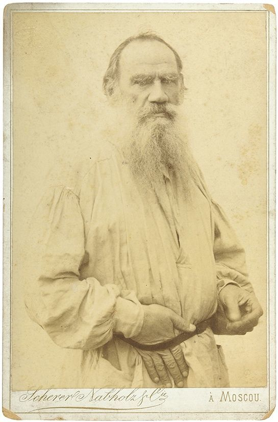 Photograph of Leo Tolstoy glued to a company mount