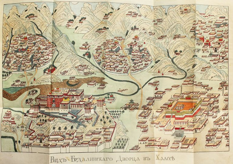 [FIRST VIEW OF LHASA] Opisanie Tibeta v Nyneshnem Yego Sostoyanii. S Kartoyu Dorogi iz Chen-du do Khlassy Perevod s Kitaiskago [i.e. Description of Tibet in its Modern State. With a Map of the Road from Chen-du to Lhassa. Translated from Chinese]. N. Y. Iakinf/ Bichurin.
