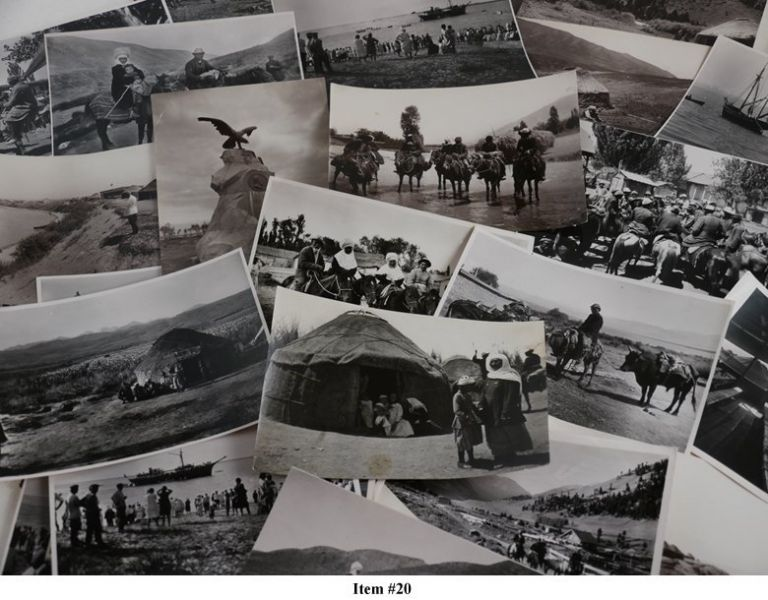 [ASIA - KYRGYZSTAN] [Collection of Thirty-Three Original Photographs of the Early Years of Soviet Kyrgyzstan, Showing First Steamers on Lake Issyk-Kul, Koisara and Jeti-Ögüz Resorts, Monument to Nikolay Przhevalsky at the Shore of Lake Issyk-Kul, and Over a Dozen Portraits of Kirghiz People Taken Near Przhevalsk (modern Karakol)]. Ivan N. PANOV.