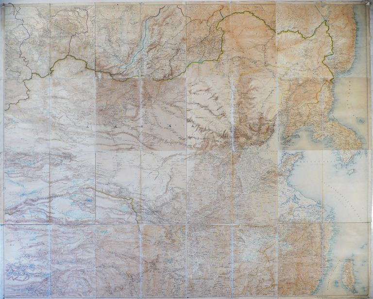 [WALL MAP OF CHINA, CENTRAL ASIA, RUSSIAN FAR EAST] [Unusual Custom-Made Set of Sixteen Original Russian Military Maps, Joined Together and Comprising a Gigantic Lithographed Wall Map of the Countries Bordering Eastern Siberia and Russian Far East, Including China, Mongolia, Tibet, Korea, and Taiwan, Titled:] Karta Yuzhnoy Pogranichnoy Polosy Aziatskoy Rossii [i.e. Map of the Southern Border Region of Asiatic Russia]. A. A. Bolshev.