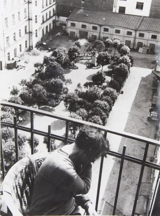 RODCHENKO] [Imprint. the 1980s]. Varvara Stepanova sitting on the balcony of their apartments