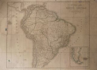 [MAP OF SOUTH AMERICA] Podrobnaya karta yuzhnoy Ameriki, izdannaya voyenno-topograficheskim depo [i.e. Detailed Map of South America Published by the Depot of Military Topography]