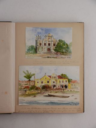 [AFRICA - WEST] [Album with over Forty Original Watercolours and Pencil Drawings and Over Forty Original Gelatin Silver Photographs, Showing Douala, Lome, Luanda, Lüderitz Bay, Environs of Swakopmund and Cape Town, Libreville, Fernando Po Island, Gorée Island, Tenerife, African Flowers, and Others, Titled:] Habicht