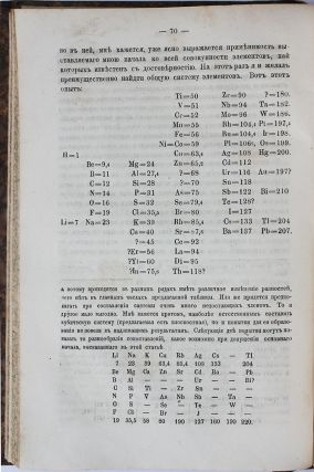 [FIRST MENDELEEV'S PERIODIC TABLE] Sootnoshenie svoistv s atomnym vesom elementov [i.e. On the Relation of the Properties to the Atomic Weights of the Elements]