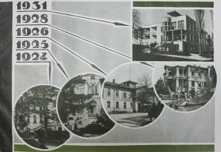 [EVOLUTION OF THE SOVIET SANATORIUM] Sbornik, posviashchennyi desiatiletiiu sanatoriia #1 im. 10 let Oktyabrya v Kislovodske. 1924-1934: 20 risunkov v tekste i 21 ris. na vkleikakh [i.e. Collection Dedicated to a Ten Year Anniversary of 10 Year of October Sanatorium #1 in Kislovodsk. 1924-1934: 20 Drawings in Text and 21 Plates].