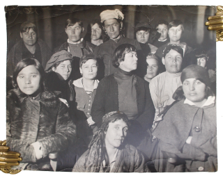RUSSIAN FEMINISTS] Original photograph of Alexandra Kollontai and female delegates at the...
